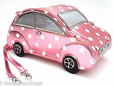 NEW LYDC Designer Women,s Beetle CAR Handbag Patent Ladies Purse PINK / WHITE