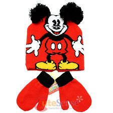 Disney Mickey Mouse 3D Ear Beanie Hat Mitten Gloves Set - Classic Mickey Red