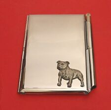 Staffordshire Bull Terrier Chrome Notebook / Card Holder & Pen Christmas Gift