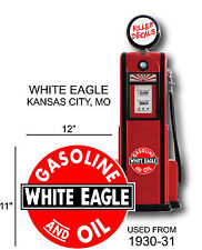 "12"" 1930-31 WHITE EAGLE GASOLINE DECAL OIL CAN / GAS PUMP / LUBSTER"