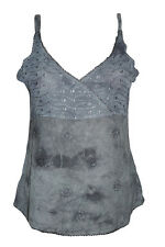 WOMEN'S SLEEVELESS TANK TOP STONEWASHED EMBROIDERED HIPPIE BLOUSE CASUAL TOPS S