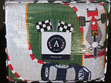 Authentic Kids RACE TRACK CARS CHECKERED Boy's Bedding FULL/QUEEN QUILT New