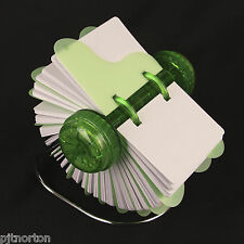 Green Rotary card filing system chrome 400 cards 105 x 74mm Rolodex rotating