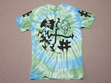 BEEN TRILL MENS GREEN & BLUE TIE DYE PIRATE FINGER GRAPHIC T SHIRT SIZE SMALL