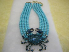 "HEIDI DAUS ""Queen Crab"" (Turquoise) 4-Row Beaded Drop Necklace (Orig.$349.95)"