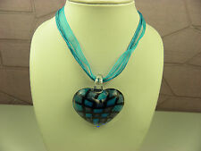 MESHES DESIGN CUTE HEART LAMPWORK MURANO GLASS  PENDANT W/BLUE RIBBON CORD