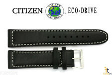 Citizen Eco-Drive AW1361-01E 22mm Black Leather Watch Band Strap White Stitches