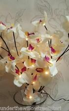 White Orchid Floral Lights Artificial Silk Flower Arrangement Light up UK Mains