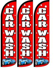 Car Wash Red bubbles Windless Standard Size  Swooper Flag Sign Banner Pk of 3