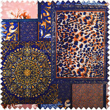 British Designer Printed Velvet Blue Gold Luxury Patchwork Upholstery Fabrics