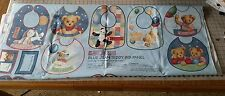 "3 panels- Daisy Kingdom #0067 ""Balloon Ride Bib Panel"" Blue Jean Teddy Bear."