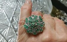 HUGE*14K WHITE GOLD STERLING SILVER 13.5 CARAT EMERALD TSAVORITE CLUSTER RING