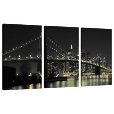 Lot de 3 panneau New York Toile Mur Art photos ponts villes 3075