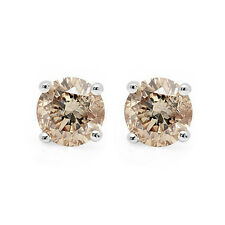 Special Offer..!! 0.20Ct Champagne Round Diamond Stud Earring in White Gold.