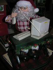 Vintage ANIMATED Christmas Holiday SANTA MOVES Looking at Computer