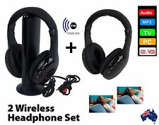 2 x Wireless Headphones Set Cordless Headset Earphone TV FM PC MP3 Headphone