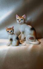 Vintage bone china animal calico cat mother kitten japan sticker