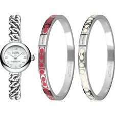 BRAND NEW COACH 14000054 WAVERLY SILVER CHAINLINK WATCH 2 STEEL BANGLES GIFT SET