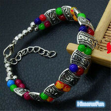 New Tibet Silver Multicolor Jade Turquoise Bead Bangle Bracelet Jewelry Gifts