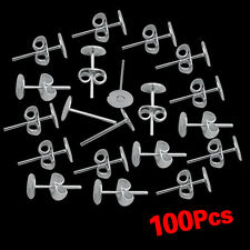 100x 6mm Silver Plated DIY Flat Pad Earring Post Stud + Scroll Backs Findings SH