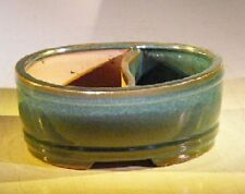 "Ceramic Bonsai Pot - Blue/Green Glazed Oval Land/Water Divided - 12"" x 9.5"" x 4"""