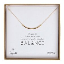 "Dogeared Gold Dipped Balance Curved Tube 18"" Boxed Necklace"
