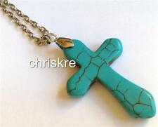 Chunky Turquoise Stone Cross Silver Necklace 27 Inch Long Plus Size USA Seller
