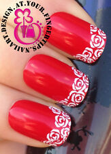 NAIL ART WRAP WATER TRANSFERS DECALS STICKERS SET WHITE ROSE FLOWERS TIPS #146