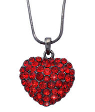 Convex Red Crystal Heart Pendant Necklace Jewelry Valentine's Day Gift Box
