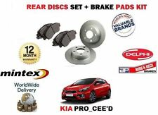 FOR KIA PRO CEED 1.4 2012--  NEW REAR BRAKE DISCS SET SOLID + DISC PADS KIT