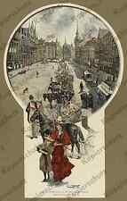 orig. Farbholzstich Alt-München Marienplatz Straßenbahn Pferdebahn Kutschen 1893