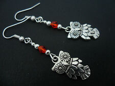 A PAIR OF  TIBETAN SILVER DANGLY OWL & RED CRYSTAL  EARRINGS. NEW.