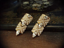Vintage Deco Style Gold & Marquise Crystal Drop Pierced Earrings