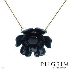NEW PILGRIM SKANDERBORG, DENMARK Blue Flower Necklace in Yellow Base Metal