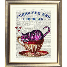 ART PRINT ON ORIGINAL ANTIQUE BOOK PAGE Cheshire Cat Picture Alice In Wonderland