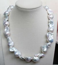 18MM-25MM REAL HUGE AAA WHITE SOUTH SEA WHITE keshi reborn PEARL necklace 18""