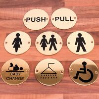 POLISHED SOLID BRASS DOOR SIGNS Toilets Pub Shop Business Bathroom Notice Plate