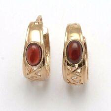 Estate 14k yellow gold purple red Garnet Filigree Hoop Earrings vintage