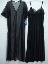 USA Made Nancy King Lingerie Long Peignoir Set Gown & Robe Size Med. Black #437N