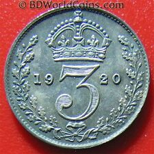 Great Britain 1920 3 Pence Silver Blue/Grey Toning! George V British World Coin