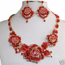 Triple Rose Flower Earrings Necklace Set Austrian Crystal Red Floral Art Deco