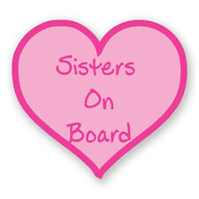 SISTERS BABY ON BOARD PINK LOVE HEART STICKER Car Van Child Children Safety