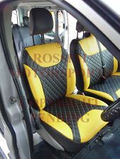 RENAULT TRAFIC VAN 2013 SEAT COVERS ROSSINI DIAMOND STITCH YELLOW AND BLACK PVC