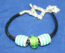 Leather & Silver Cat Face Toggle Charm Bead Bracelet Reiki Blessed in Gift Bag