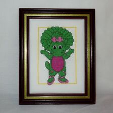 New Barney Baby Bop Framed Picture Finished Handmade Cross Stitch Purple Green