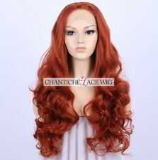 Copper Red Lace Front Wigs Long Natural Wavy Synthetic Wig For Women Heat Safe
