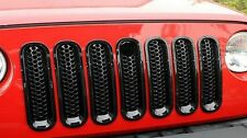 7pcs Black Front Grill Mesh Grille Insert Key Hole For Jeep Wrangler JK 07-16