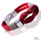 Mens Cool New Red Knot Infinity Genuine Leather Wristband Bracelet MKUS076RD