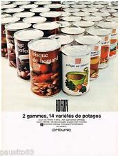 PUBLICITE ADVERTISING 095  1967  FORZA  les conserves potages de PRISUNIC