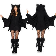 Women Vampire Bat Costume Adult Cosplay Jumpsuit Halloween Fancy Dress Outfit